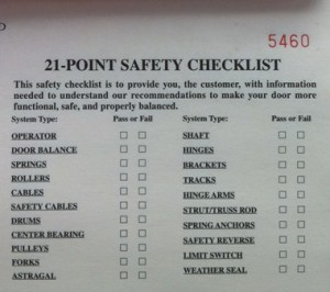 houston garage door safety inspection